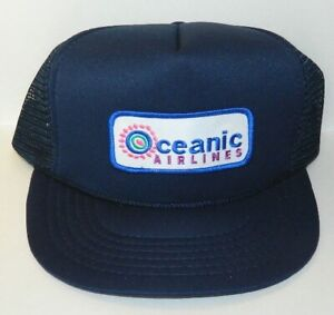 Lost TV Series Oceanic Airlines Uniform Chest Patch on a Blue Baseball Cap Hat