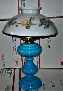 ANTIQUE BLOWN BLUE MILK  GLASS KEROSENE OIL LAMP WHITE SHADE HP FLORAL #2 COLLAR