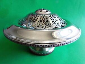 Beautiful Vintage English EP Silver Art Deco Covered Bowl Posy Vase Potpourri