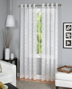 Elrene Home Fashions Latique Sheer 52 X 95 Window Single Curtain 1 Panel, White