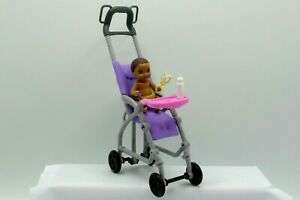 Mattel Barbie African American Baby and Stroller w/ baby bottle
