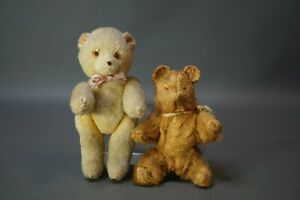 2 Antique German Teddy Bear Mohair Straw-stuffed Felt Jointed Miniature Toy
