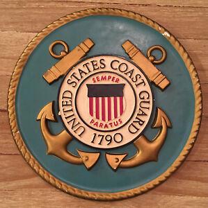 "United States Coast Guard USCG Emblem 15"" Round Plaque Sign Wall Decor Vintage"