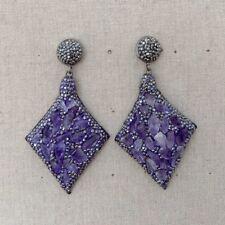 Amethyst Rough Black Crystal Pave Stud Earrings