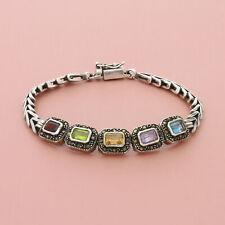 blushed sterling silver marcasite topaz garnet amethyst citrine bracelet  7.5