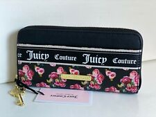 JUICY COUTURE VARSITY BLOOMS BLACK ROSE PRINT ZIP AROUND CLUTCH WALLET PURSE $45