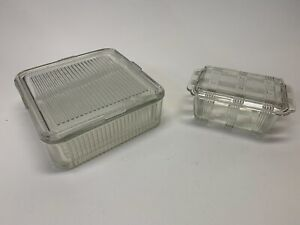 Vintage Set of 2, Ribbed Glass Refrigerator Box Food clear kitchen Containers