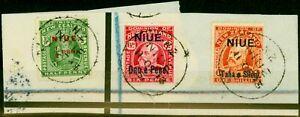 Niue 1911 Set of 3 SG17-19 V.F.U on Large Registered Piece 'N.Z Niue 11 Oc 13...