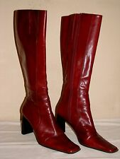Nine West Quivera Womens Burgundy Red Wine Leather Knee High Boot - Size 9M