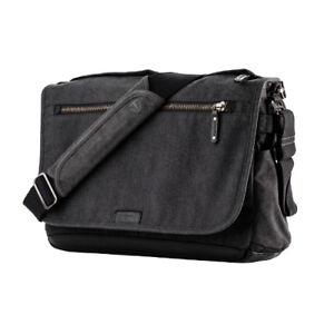Tenba Cooper 15 Slim Messenger Bag Luxury Canvas with Leather Accents