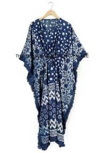 Anokhi Indigo Cotton Kaftan Long Block Print Indian Gown Kimono Boho Maxi Dress