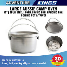 "Large Aussie Camp Oven 12"" Spun Steel Oven Frying Pan Hanging Pan Boiling Pot"