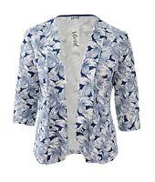 Womens Light Jacket Size 16 - 26 White Blue Print Ladies *LICK* Exclusive