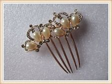 Wedding Bridal Crystal Rhinestone Pearls Hairpin Flower Diamante Hair Clip Comb