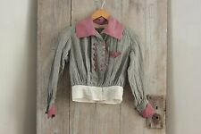 Antique woman's shirt Victorian  French woman's clothing check RARE blouse