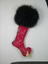 Christmas Stocking Ostrich Feathers Red Quilted 25 Inches