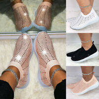 Women's Ladies Casual Crystal Bling Sock Trainers Slip On Comfy Sport Shoes Size