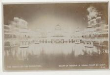Court of Honour & Indian Court by Night Franco British Exhibition RPPC B829