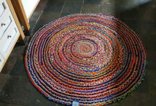 150cm x 150cm Circle Jute with Coloured Cotton Rustic Reversible Circular rugs