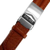 Uhrenarmband Leder Faltschliesse POLJOT Büffelleder Rehbraun 20mm Erzatz Uhr