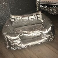 Medium Crushed Velvet Dog Pet Bed - Silver
