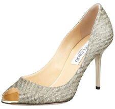 NEW Sz.6.5 Jimmy Choo EVELYN Light Bronze Glitter Peep Toe Pump Shoes-ITALY
