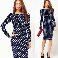USA 4XL Elegant Womens Sexy Long Sleeve Bodycon Slim Formal Evening Pencil Dress