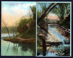 Antique Colorized Picture Landscape Postcards, Qty. 2, M.E. Bogarte & E.C. Kropp