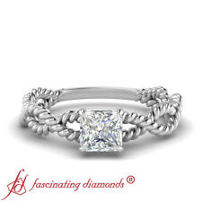 .50 Carat Princess Cut Diamond Rope Style Solitaire Braided Band Engagement Ring