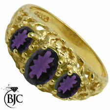 Three-Stone Amethyst Yellow Gold Fine Rings