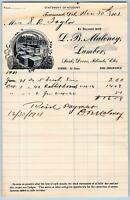 1901 D B MALONEY LUMBER*SASH DOORS BLINDS ETC*TOWNSEND DELAWARE*DE*S R TAYLOR