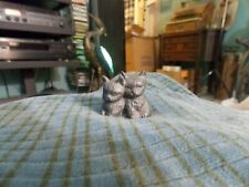 "Vintage Pewter KITTEN PAIR Figurine 1 1/8"" Tall Cute !"
