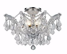 "6-Light 20"" Chrome Finish Pan Clear Crystal Flush Mount Ceiling Chandelier"