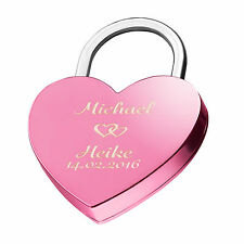 Heart Love Lock Engraved Pink Gift Idea With Desire Engraving on both sides