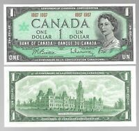 Canada One Dollar $1 (1867-1967) WITHOUT SERIAL # - UNC Banknote W/ TopLoader