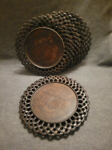 """SET of 5 Pier 1 Carved Dark Wood Round Plate Chargers,13"""" Dia,  Made In India"""