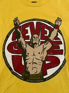 John Cena Yellow T-Shirt Small S Never Give Up U Can't C Me WWE NXT 12 Years