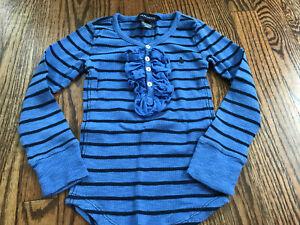 Girls Ralph Lauren Blue Striped Ruffled Top Shirt Clothes Size 5
