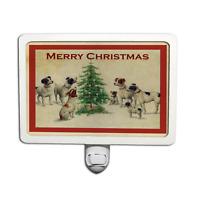 Victorian Christmas Card Terrier Dogs Tree Night Light