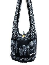 CHIC! UNISEX HOBO SHOULDER BAG GYPSY ELEPHANT CROSSBODY THAI BLACK CAMPUS BOHO C