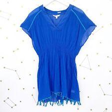 Athleta Cover Up Size XXS Blue Gauzy Tassels Bright Side Smocked Dolman Sleeves