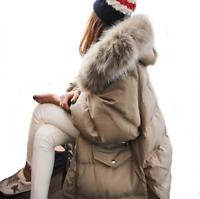 Women Military Jacket Big Fur Collar Puffer Duck Down Winter Snow Parkas Coats L