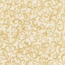 Winters Grandeur Gold metallic Scroll on Ivory cotton quilt fabric BTY Kaufman
