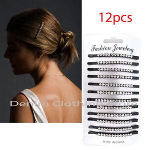 12pcs Black Rhinestone Crystal Metal Bobby Pin Hair Clip Updo Accessories Lots