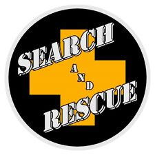 """Search and Rescue Yellow Cross Very Small 2"""" Round Reflective Decal Sticker"""