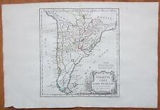 Vaugondy Decorative Original Map Chile Argentina - 1786
