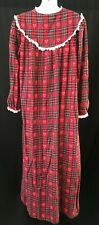 Vtg Lanz Of Salzburg Classic Red Plaid Flannel Cotton Long Nightgown Size Small