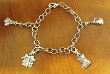 bracelet de noël argenté 4 charms (bra06)