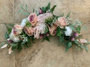 Rose, Eucalyptus and Wild Flower Swag in Pinks and Mauves