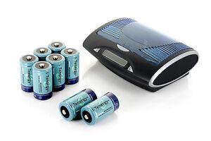 Tenergy T9688 LCD Smart Charger+8PCS 10000mAh D Size NiMH Rechargeable Batteries